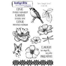 indigoblu live laugh love a5 red rubber stamp indigoblu from