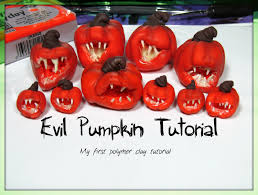 evil pumpkin tutorial polymer clay for halloween and or doll