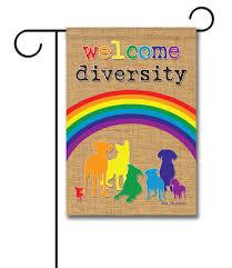 Welcome Flag Welcome Diversity Rainbow Garden Flag 12 5 U0027 U0027 X 18 U0027 U0027 Custom