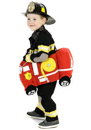 fireman costume ride in a truck costume