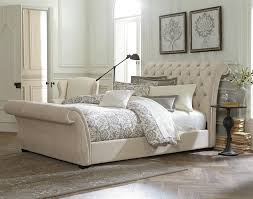 White Queen Sleigh Bed How To Dress Upholstered Sleigh Bed Home Decorating Ideas