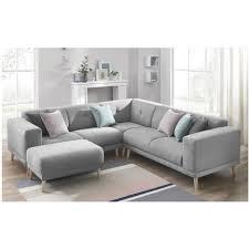 canapé et pouf assorti canape d angle panoramique avec pouf enjoy gris clair bobochic
