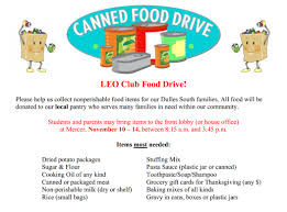 thanksgiving food drive items mercer middle leo club food drive dulles south news