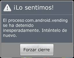 android vending error proceso android vending se ha detenido accesorios para