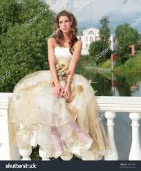 pretty princess whitegolden gown dreams future stock photo