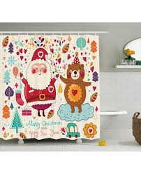 Teddy Shower Curtain Shower Curtain Santa And Teddy Print For
