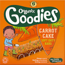 organix 12 months goodies organic carrot cake bars 6x30g kids