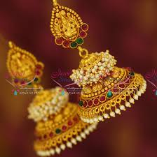 temple design gold earrings j3428 temple laxmi indian jewellery god design gold plated