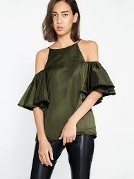 shoulder cut out blouse cut out shoulder blouse olive pomelo singapore
