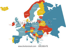 map with labels map europe labels stock vector 691166479