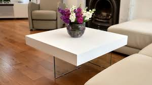 Small Occasional Table Square White Oak Coffee Table Tempered Clear Glass Legs