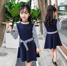 Kids dress 2018 autumn winter long sleeve dress Striped cute toddler