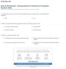 Components Of A Spreadsheet Quiz U0026 Worksheet Components U0026 Functions Of Computer System Units