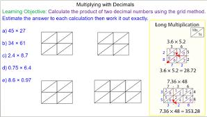 multiplying decimals using the grid method mr mathematics com
