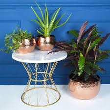 hammered plant pots copper and gold by audenza