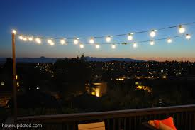string lights outdoor diy posts for hanging outdoor string lights house updated