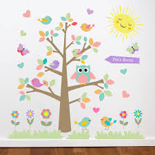 owl tree wall stickers by parkins interiors notonthehighstreet com pastel colour theme