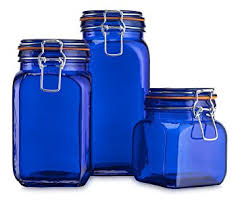 amazon com airtight blue colored glass canister hermetic seal