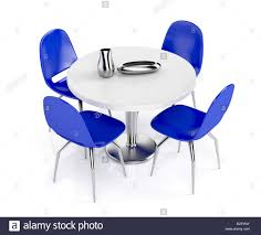 round dining table and blue plastic chairs on white background