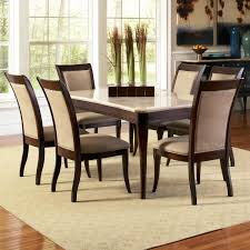 marseille 7 piece dining set marble look top dark cherry finish