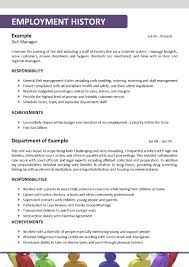 Employment History Example Cv Personal Statement Support Worker