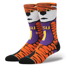 lsu mike the tiger mens college mascot socks stance