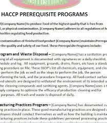 haccp plan prerequisite program statement template usa food