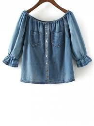 denim blouses the shoulder pockets jean blouse denim blue blouses s zaful