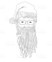 santa hipster coloring page for children and adults stock vector