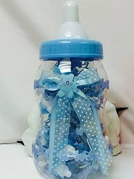 baby boy blue fillable baby bottle centerpiece gift