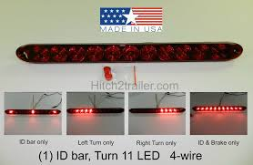 american made led light bar tecniq red hi mount center brake turn id bar 11 led light trailer
