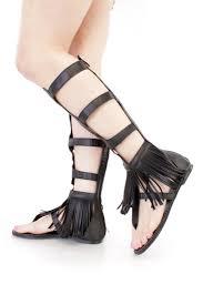 black strappy fringe gladiator sandals faux leather