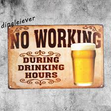 home decor hours no working during drinking hours vintage metal sign bar wall sticker