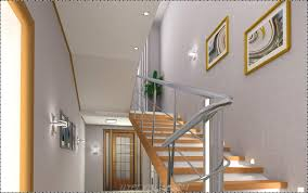 architecture staircase with glass railing and matt white wall