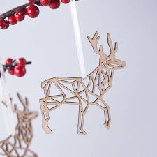 geometric reindeer decoration by clouds and currents