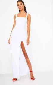 white maxi dress white neck maxi dress dresses prettylittlething usa