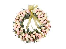 amazon com rose wreath silk flower head floral home wall decor 14