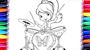 strawberry shortcake drum set coloring video coloring pages for