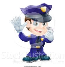 vector illustration of a friendly male police officer holding a