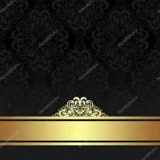 damask ribbon damask black ornamental background with golden ribbon stock