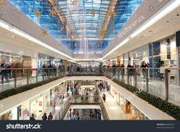 shopping center decorated ornaments lights stock photo
