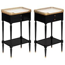 Antique Nightstands With Marble Top Pair Of Antique Louis Xvi French Side Tables With Carrara Marble