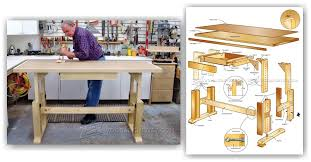 adjustable height worktable plans u2022 woodarchivist