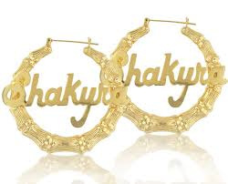 Name Hoop Earrings Celebrity Style Large Bamboo Name Earrings Order Any Name