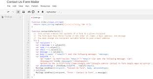 google apps script contact us form email google sites