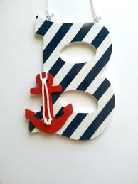 Nautical Nursery Wall Decor Wooden Letter Anchor Decor Letters