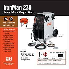 hobart 500536 ironman 230 mig welder with wheel kit u0026 cylinder