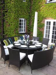 wicker dining table with glass top out door dining sets with round glass top table mixed white fabric