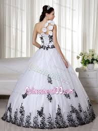 black and white quinceanera dresses white and black dress for sweet 16 with one floral shoulder