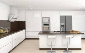 Design Of A Kitchen Interior Design Of A Modern Kitchen In White And Brown Colors